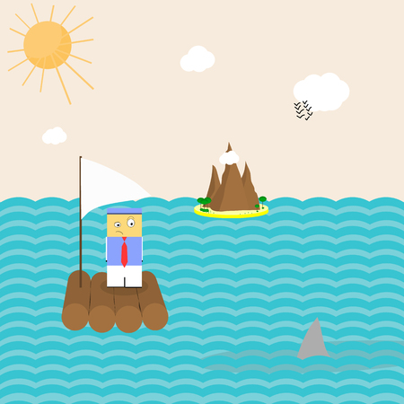 Funny flat vector illustration of the man with a red tie on a boat surprisingly looking at the sharks fin sticking out of the water and island, sun, clouds and birds on the background Illustration