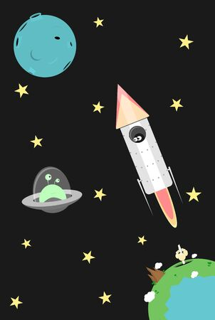 Rocket launched from a planet with astronaut looking at the smiling alien in a flying saucer. UFO approaches to a spacecraft in the outer space. First contact funny flat vector cosmos illustration