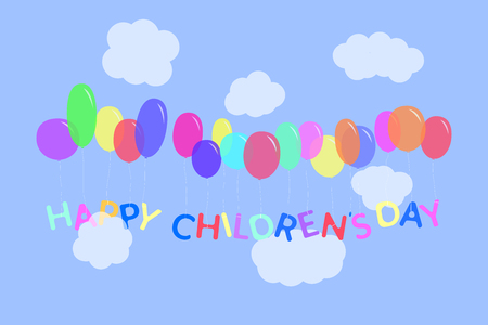 Happy childrens day letters illustration. Multicolor characters tied to the colorful balloons flying in the sky with clouds. Vector background