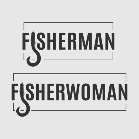 Deux logos de pêcheries vectorielles. Insigne de pêcheur et de pêcheur avec appât stylisé en forme de lettre isolé sur le fond gris