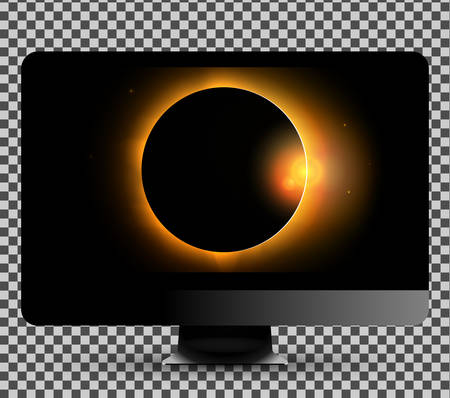 Vector illustration of the new modern computer monitor showing sun eclipse picture on the screen Illustration
