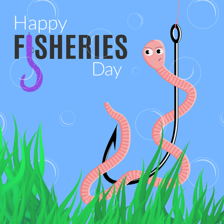 Happy fisheries day funny card. Vector illustration for the world fishing holiday with worm, hook, logo and alga