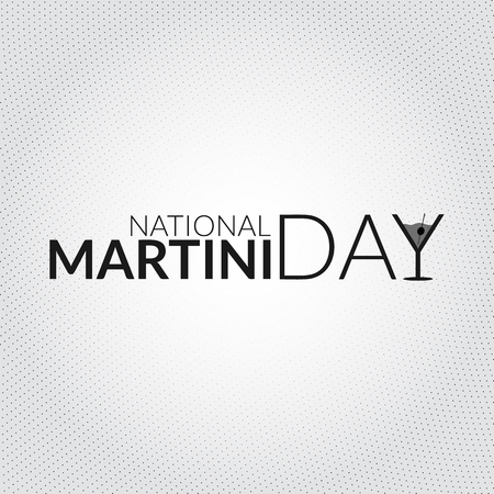 National martini day card. Vector illustration with stylized glass shaped letter silhouette Çizim