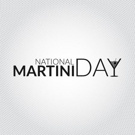 Scheda nazionale del martini. Illustrazione vettoriale con la siluetta a forma di lettera stilizzata a forma di vetro Archivio Fotografico - 80201020
