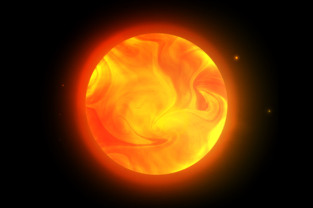 aureole: Vector sun planet. Illustration of the red giant with swirling clouds on the black background shining stars Illustration