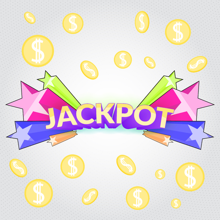 Jackpot casino sign. Cartoon gamble winning symbol with star blast and falling coins money Illustration