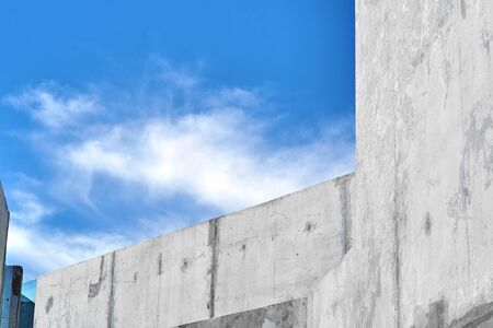 Blue sky and gray wall abstract background