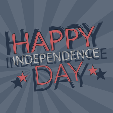 American happy independence day vector greeting card in retro style with desaturated colors