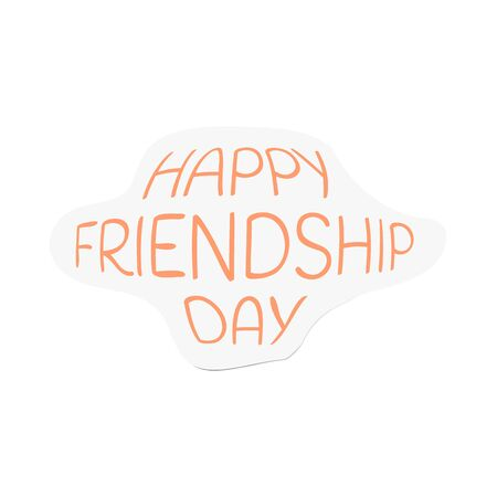 Happy friendship day vector illustration of stickers with yellow text