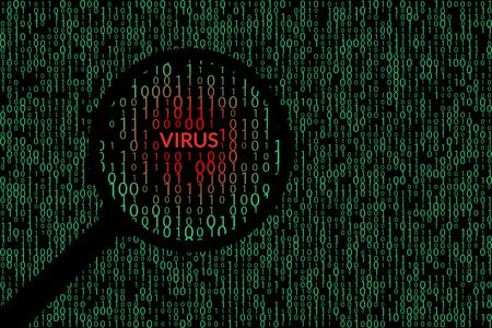 Abstract technology binary code background. Detected virus illustration Çizim