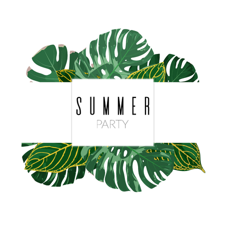Summer floral background. Exotic tropical plant leaves vector illustration Illustration