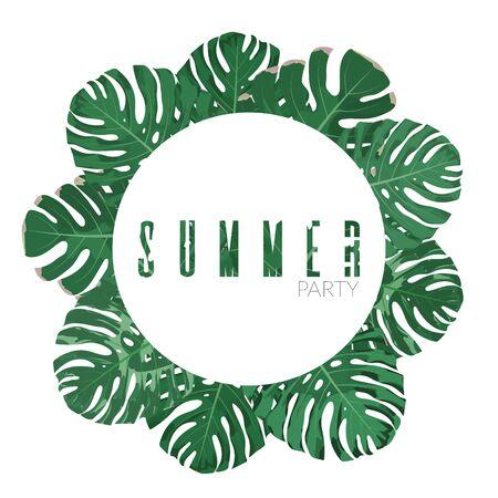 Exotic jungle leaves background. Vector floral background illustration