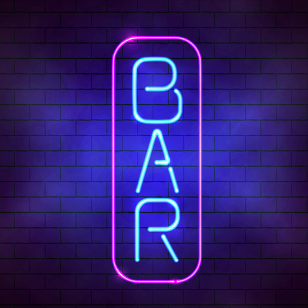 Glowing blue neon bar sign illustration. Bright fluorescent lamp on the brick wall background Vectores