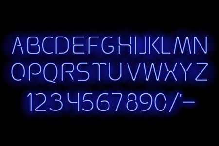 Blue neon alphabet vector illustration.