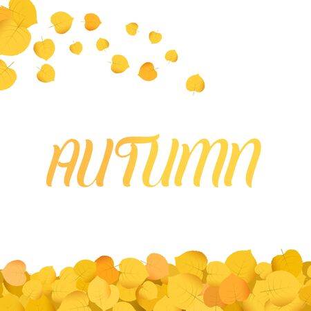 Minimalist autum background illustration with falling leaves Illustration