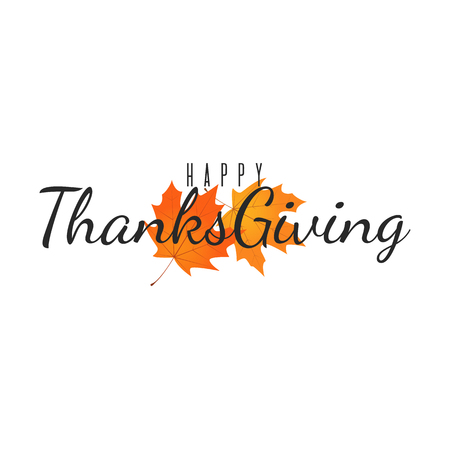 autumn background: Happy Thanksgiving isolated illustration. Vector greeting background