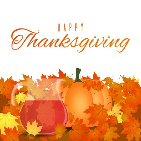 Autumn foliage Thanksgiving background. Vector greeting card isolated on white background
