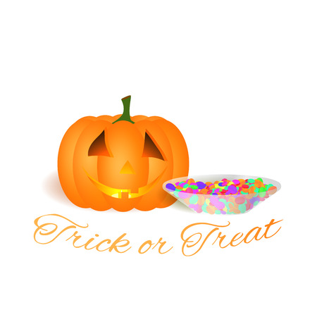 All Hallows Eve vector greeting illustration isolated on a white background