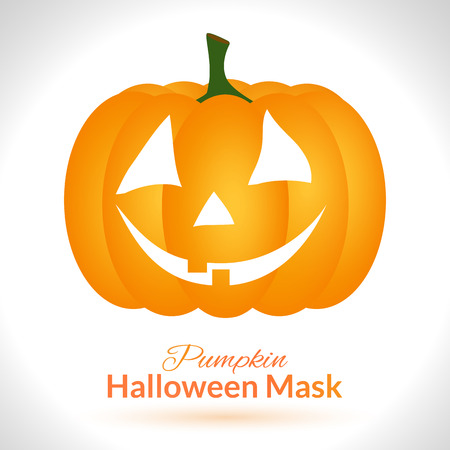 guise: Pumpkin face. Halloween mask isolated on white