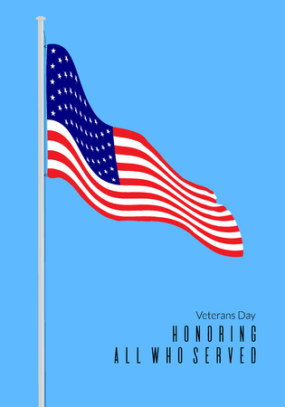 Veterans day greeting card. Honoring all who served text on background with America flag Illustration