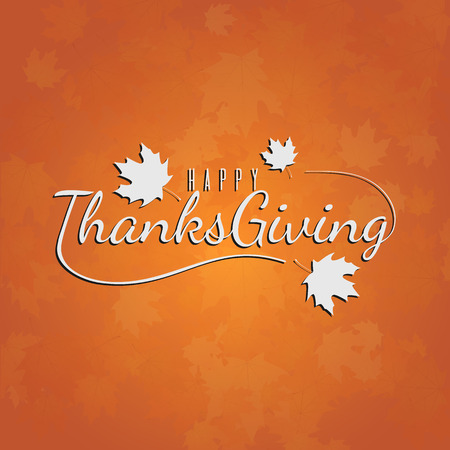Thanksgiving day typography illustration for card, banner, poster or background. Autumn colors backkdrop  イラスト・ベクター素材