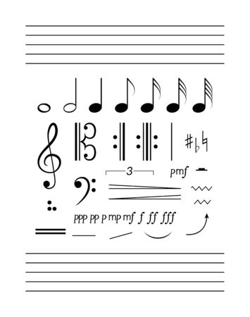 Notes, staff, clefs solfeggio set.