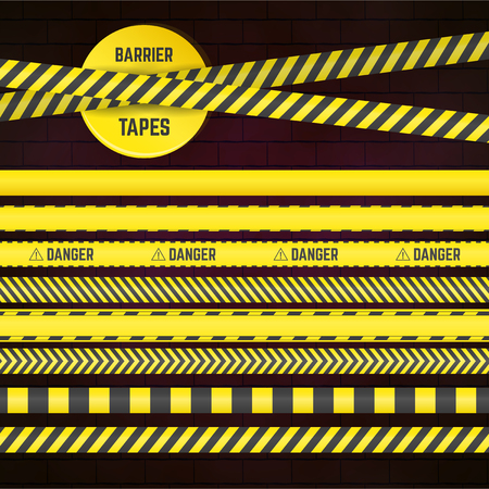 Seamless yellow limitation tapes. Collection of bounds