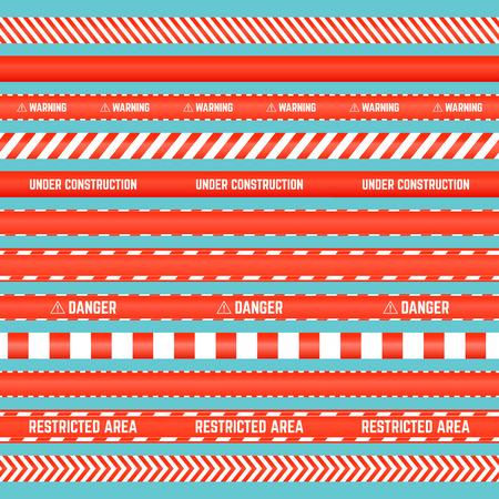Nahtloser Satz rote Barrikadebänder mit Textproben Standard-Bild - 87661722