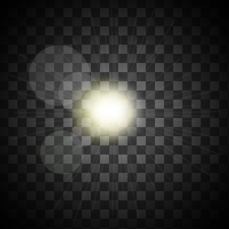 Isolated on transparent background sunlight with light bursts Illustration
