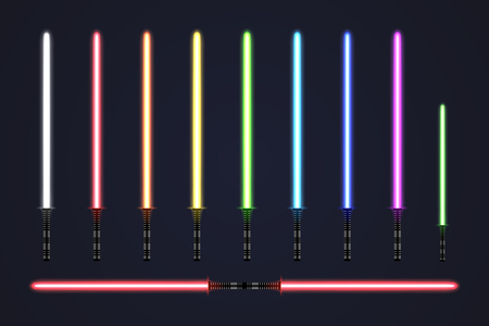 Futuristic light sabers set.