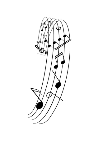 Musical frame with lines and notes illustration Illustration