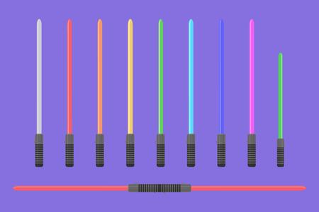 Set of flat light sabers. Collection of futuristic swords Banco de Imagens - 88071005