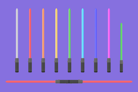Set of flat light sabers. Collection of futuristic swords