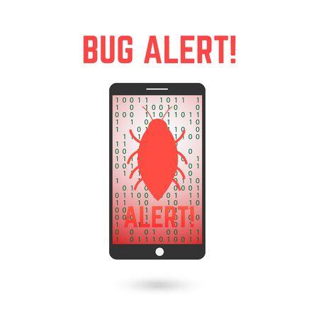 Digital bug alert illustration.