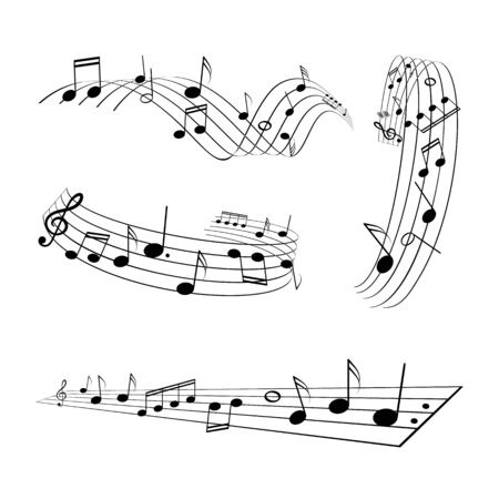 Collection of musical edgings vector illustration.