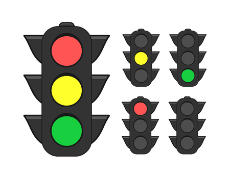 Collection of traffic lights flat icon set vector illustration