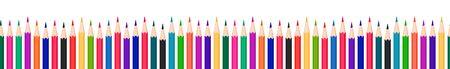 Colorful pencils seamless row. Vector horizontally tileable illustration