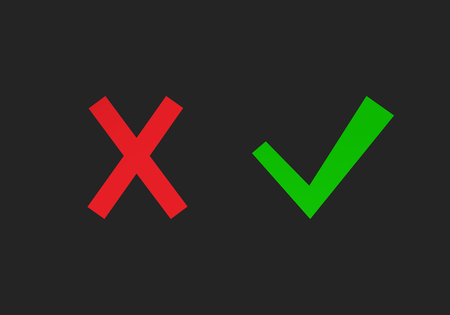 Set of cross and tick. Flat yes and no symbol icons
