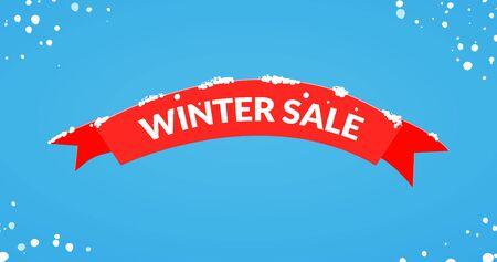 Winter sale red ribbon card design illustration.