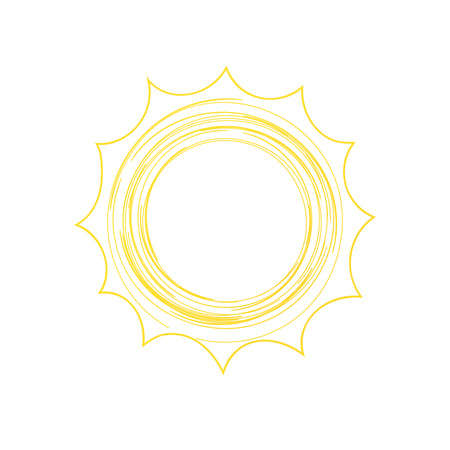 Outlined sun doodle illustration on white background