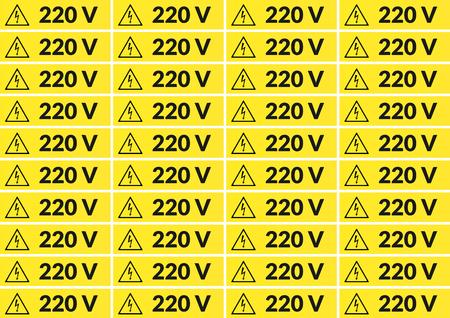 220 ボルト電源ステッカー a4 サイズ印刷用のセット  イラスト・ベクター素材