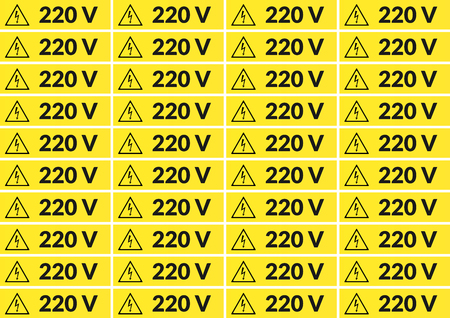Set of 220 volt main voltage sticker for printing on A4 向量圖像