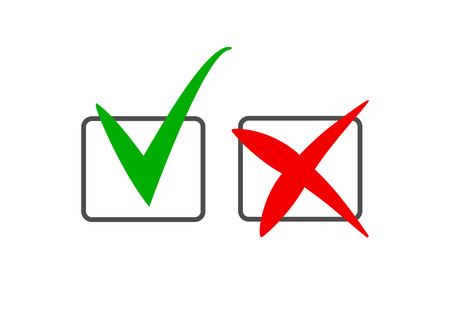 Set of tick and cross marks in the checkboxes Illustration