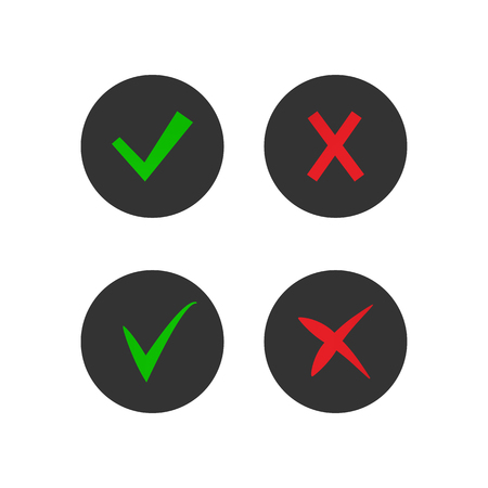 Set on tick and cross icons. Accept and decline symbols