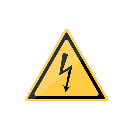 voltage sign: High voltage icon. Black lightning arrow on yellow triangular sign Illustration
