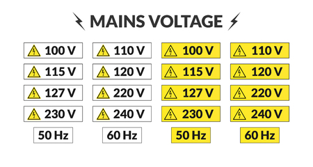 Set of worldwide mains voltage stickers. 50 and 60 hertz