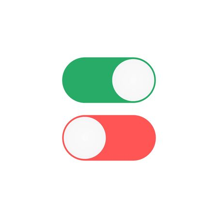 On Off toggle icon. Green and red switches