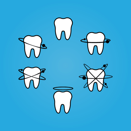 Set of teeth icons with orbits and nimbus Illustration