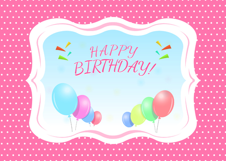Happy Birthday Greeting Card Template With A Place For Name Royalty