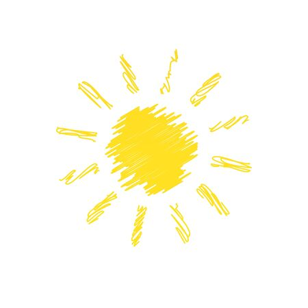 Hand drawn sun doodle illustration isolated on white background
